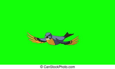 Blue Bird Came Flying and Flies Away. Animated Motion...