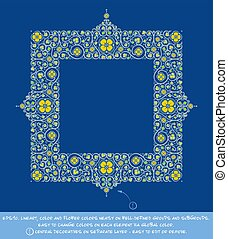 Square Flower Decorative Ornamentst - Yellow Cerulean Blue...