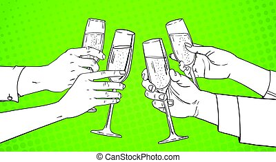 Sketched Hands Group Clinking Glass Of Champagne Wine Toasting Pop Art Retro Pin Up Background