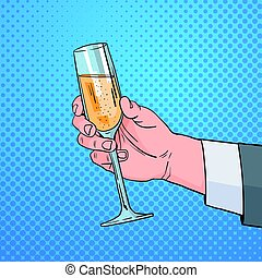 Male Hand Holding Glass Champagne Wine Pop Art Retro Pin Up Background