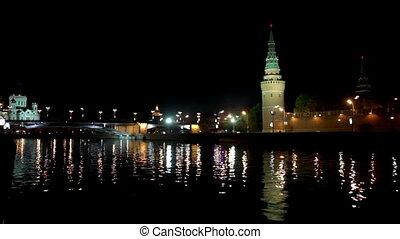 Moscow Kremlin river night landscape