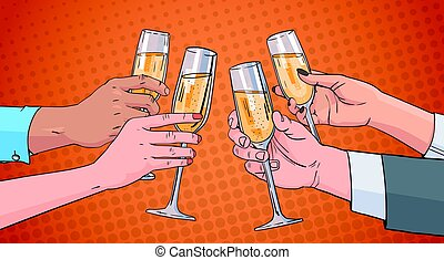 Hands Group Clinking Glass Of Champagne Wine Toasting Pop Art Retro Pin Up Background