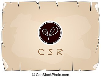Business Concepts, Green Plant with CSR Abbreviation or...