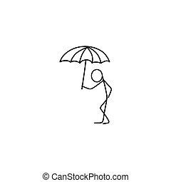 Cartoon icon of sketch stick figure in cute miniature scenes.