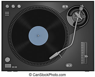 Turntable - Top view of a turntable with vinyl record. 3D...