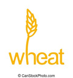 Wheat lettering. Ear of rye and letters. Agricultural emblem