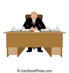President at desk. Big boss at table. Director in office....
