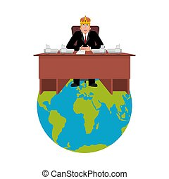 President of world in crown . Modern King is a businessman....