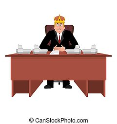 President in crown at desk. Modern King is businessman. Big Boss at table. Director in office. Chief Worker Room