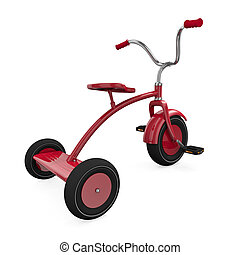 Red tricycle against a white background. 3D rendered...