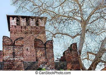 view of tower and wall of Castelvecchio Castel - travel to...