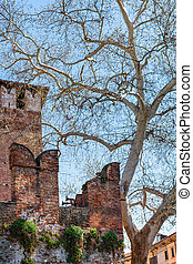 wall with m-shaped merlons of Castelvecchio - travel to...