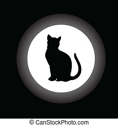 black cat in white circle