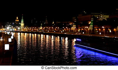 Moscow Kremlin river night landscape with ship - timelapse