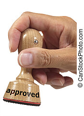 approved - rubber stamp marked with approved and isolated on...