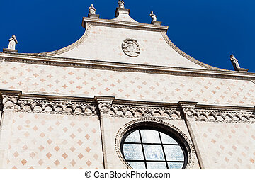 fronton of in Duomo Cathedral in Vicenza - travel to Italy -...