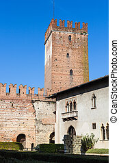 Tower and museum house of Castelvecchio - travel to Italy -...