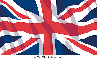 Waving British National Flag - Vector waving British...