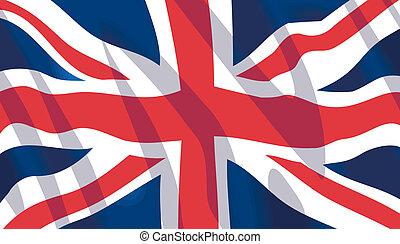 ondulación, británico, nacional, bandera