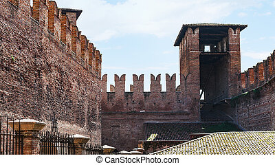 m-shaped merlons on wall of Castelvecchio - travel to Italy...