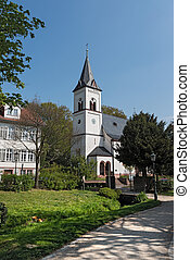 Source Park with Evangelical Church in Bad Soden am Taunus,...