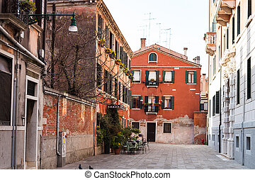 street Calle Sechera in Venice city in spring - travel to...