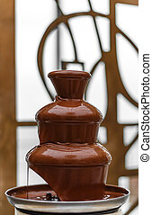 Chocolate fountain on the wedding