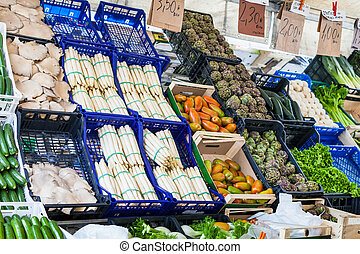 vegetables on market on Piazza delle Erbe - travel to Italy...