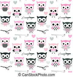 Cute vector seamless pattern with cartoon owls, hearts and branches in pink and grey colors for girl clothing, scrapbooking and nursery decor