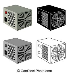 Power supply unit icon in cartoon style isolated on white...