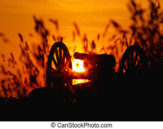 Sunset at Gettysburg - Sunset at the National Military Park,...
