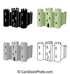 English castle icon in cartoon style isolated on white...