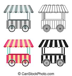 Snack cart icon in cartoon style isolated on white...