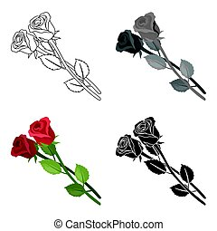 Two roses icon in cartoon style isolated on white background. Funeral ceremony symbol stock vector illustration.