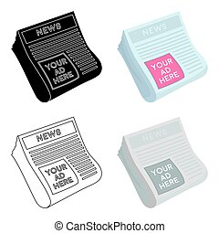 Classified ads in newspaper icon in cartoon style isolated...