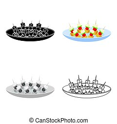 Canape on the plate icon in cartoon style isolated on white...
