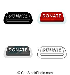 Donate button icon in cartoon style isolated on white background.