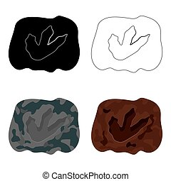 Rock with dinosaur footprint icon in cartoon style isolated...