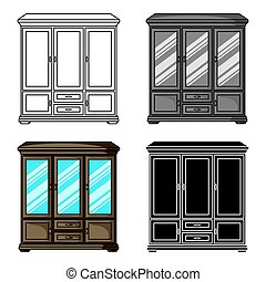 Classical cupboard icon in cartoon style isolated on white background. Furniture and home interior symbol stock vector illustration.