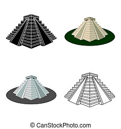 Chichen Itza icon in cartoon style isolated on white...