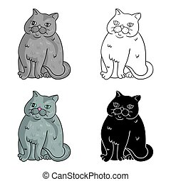 Exotic Shorthair icon in cartoon style isolated on white...