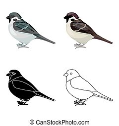 Sparrow icon in cartoon style isolated on white background. Bird symbol stock vector illustration.