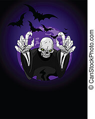 Halloween horrible Grim Reaper against the backdrop of the...