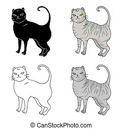 British Shorthair icon in cartoon style isolated on white...