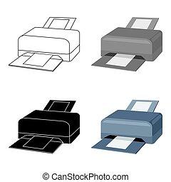 estilo, impresora, computadora, Ilustración, personal,...
