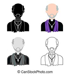 Priest icon in cartoon style isolated on white background....