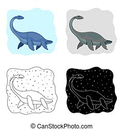 Sea dinosaur icon in cartoon style isolated on white...
