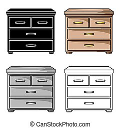 Wooden cabinet with drawers icon in cartoon style isolated...