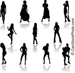 sexy girl action vector silhouettes