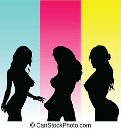 sexy girl black vector silhouettes